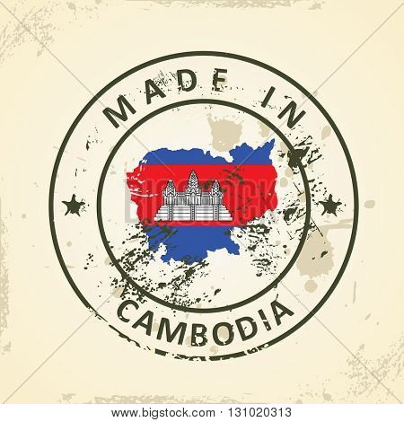 Grunge stamp with map flag of Cambodia - vector illustration
