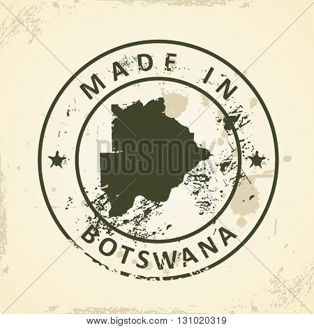 Grunge stamp with map of Botswana - vector illustration