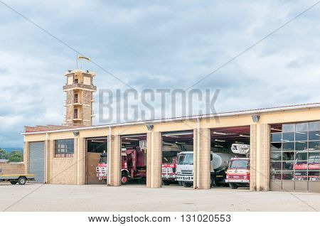 UITENHAGE SOUTH AFRICA - MARCH 7 2016: A fire station in Uitenhage an industrial town in the Nelson Mandela Bay Metropolitan Municipality in the Eastern Cape Province