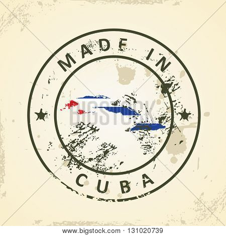 Grunge stamp with map flag of Cuba - vector illustration