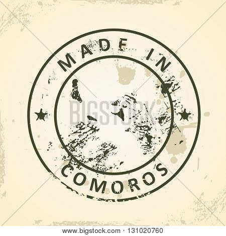 Grunge stamp with map of Comoros - vector illustration