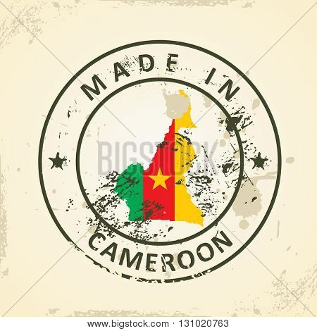 Grunge stamp with map flag of Cameroon - vector illustration