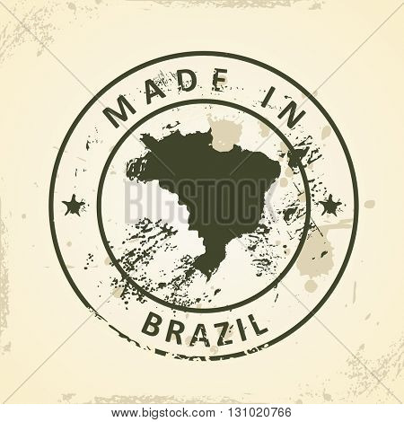 Grunge stamp with map of Brazil - vector illustration