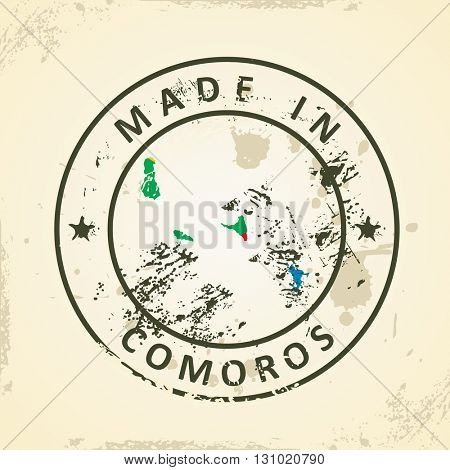 Grunge stamp with map flag of Comoros - vector illustration