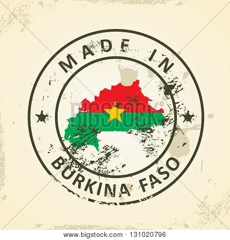 Grunge stamp with map flag of Burkina Faso - vector illustration
