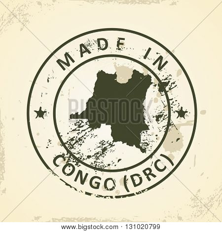 Grunge stamp with map of Congo (DRC) - vector illustration