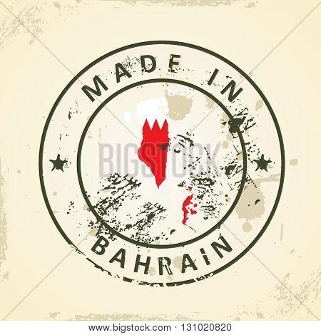 Grunge stamp with map flag of Bahrain - vector illustration