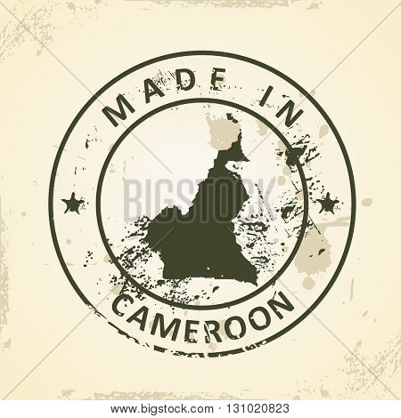 Grunge stamp with map of Cameroon - vector illustration