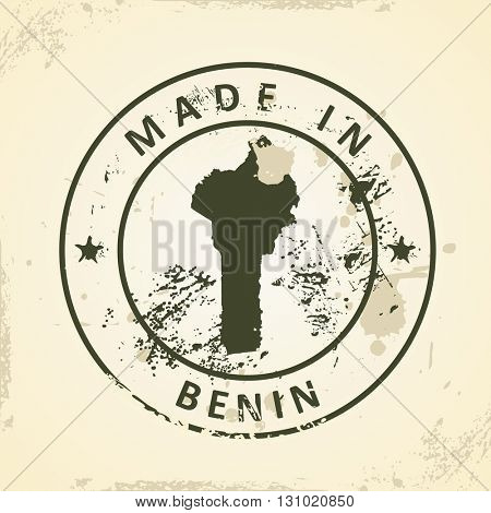 Grunge stamp with map of Benin - vector illustration