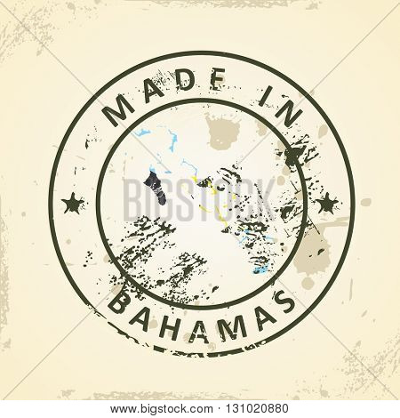 Grunge stamp with map flag of Bahamas - vector illustration