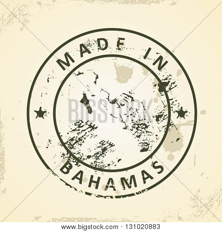 Grunge stamp with map of Bahamas - vector illustration