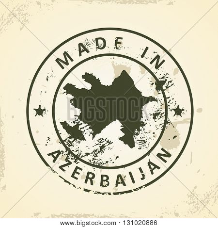 Grunge stamp with map of Azerbaijan - vector illustration