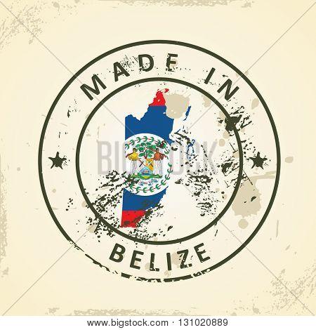 Grunge stamp with map flag of Belize - vector illustration
