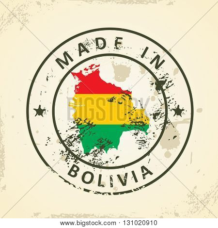 Grunge stamp with map flag of Bolivia - vector illustration