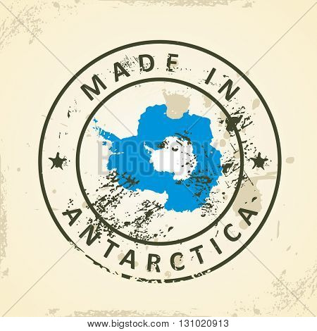 Grunge stamp with map flag of Antarctica - vector illustration