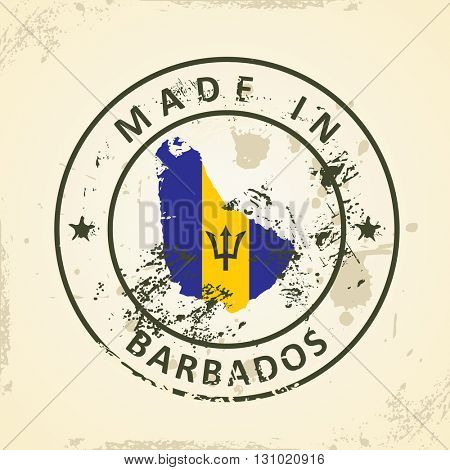 Grunge stamp with map flag of Barbados - vector illustration
