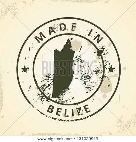 Grunge stamp with map of Belize - vector illustration