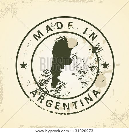 Grunge stamp with map of Argentina - vector illustration