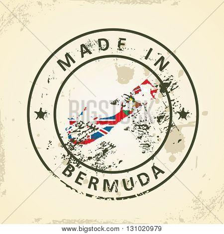 Grunge stamp with map flag of Bermuda - vector illustration