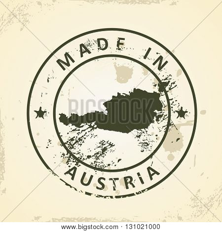 Grunge stamp with map of Austria - vector illustration
