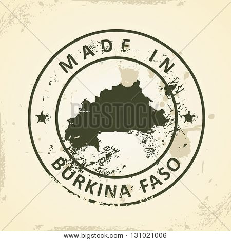Grunge stamp with map of Burkina Faso - vector illustration