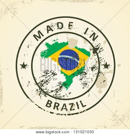 Grunge stamp with map flag of Brazil - vector illustration