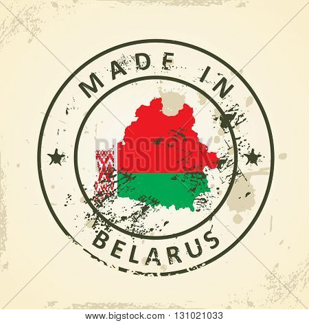 Grunge stamp with map flag of Belarus - vector illustration