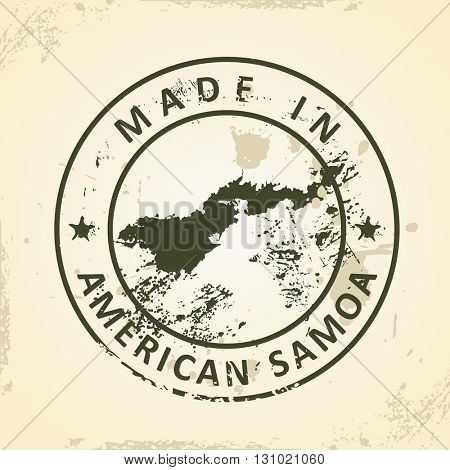 Grunge stamp with map of American Samoa - vector illustration