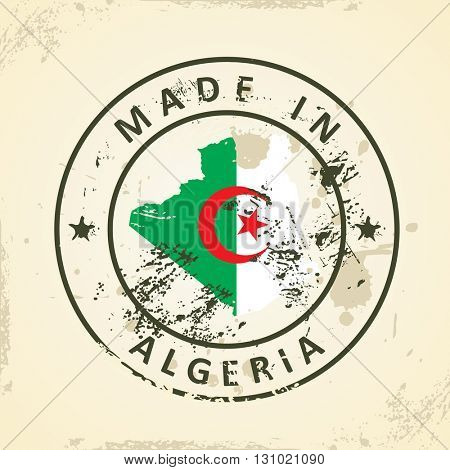 Grunge stamp with map flag of Algeria - vector illustration