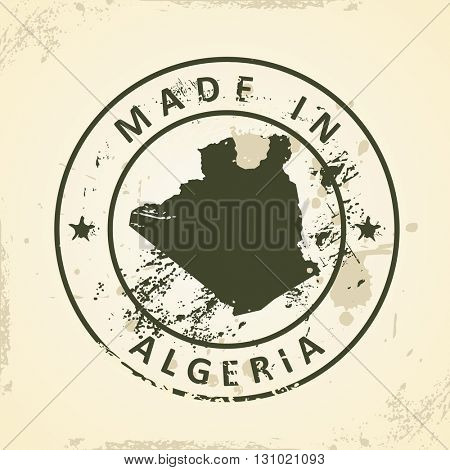 Grunge stamp with map of Algeria - vector illustration