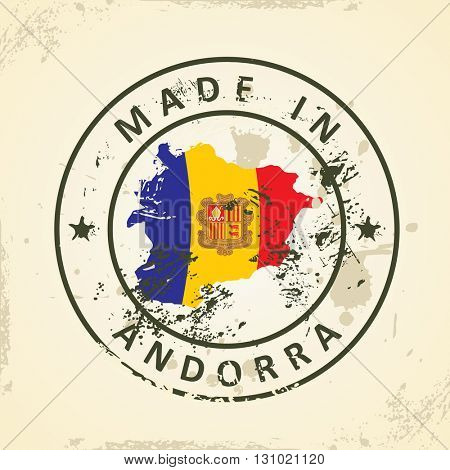 Grunge stamp with map flag of Andorra - vector illustration