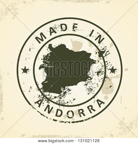Grunge stamp with map of Andorra - vector illustration