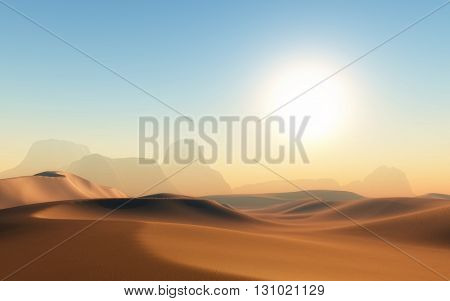 3D render of a hot sandy desert scene