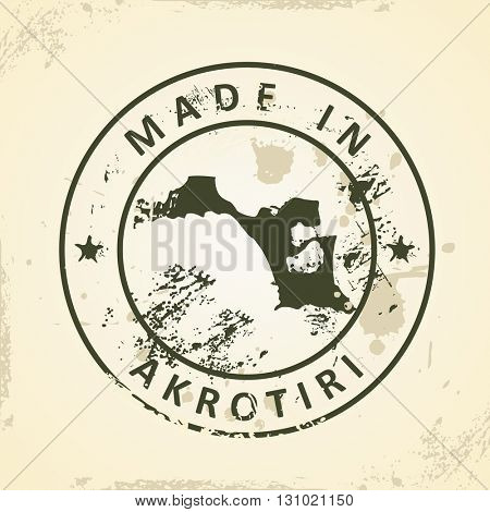 Grunge stamp with map of Akrotiri - vector illustration