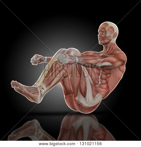 3D render of a medical figure bodybuilder with muscle map in a sit up pose