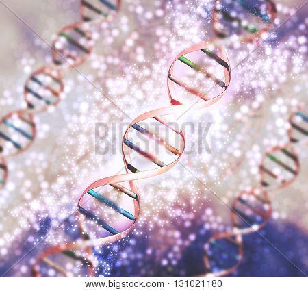 3D render of a medical background with DNA strands