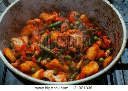 Vegetarian Vegetable Stew In Tomato Sauce, Cooked Pot