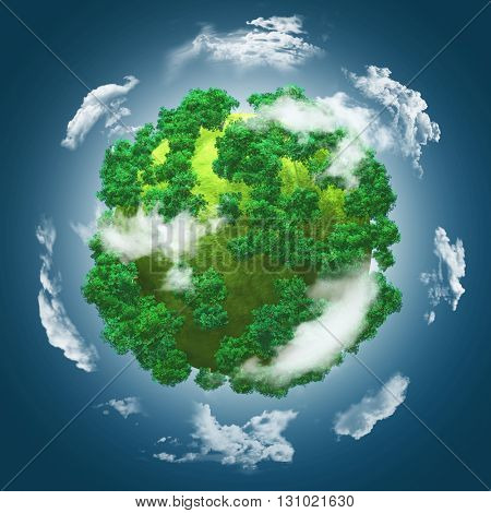 3D render of a grassy globe with trees against a blue cloudy sky