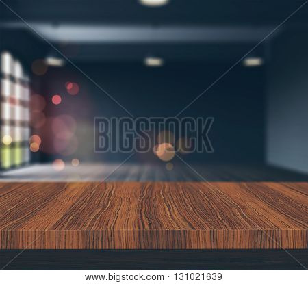 3D render of a wooden table looking to a defocussed empty room with vintage effect