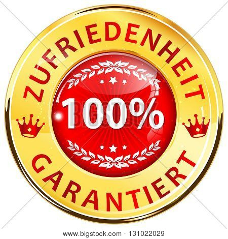 100% Satisfaction Guaranteed shiny icon / button in German language - Zufriedenheit Garantiert.