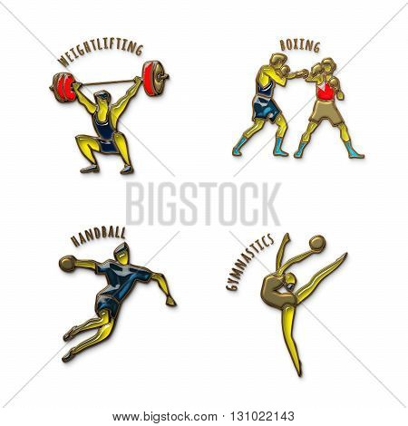 Athlete Icon. Boxing. Handball. Weightlifting. Artistic Gymnastics. Summer games. Sport icons with sportsmen for competitions or championship design. Gold and colored glass. 3D illustration.