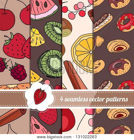 Collection of seamless bright patterns with stylized fruits and pastry. Endless texture for your design, announcements, greeting cards, posters, advertisement.