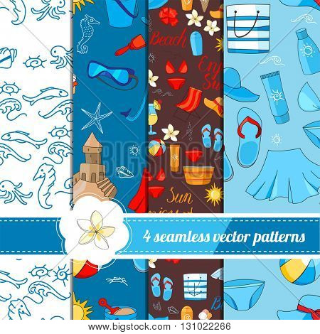 Collection of seamless patterns with summer holiday symbols. White, blue and dark color. Endless texture for your design, announcements, greeting cards, posters, advertisement.