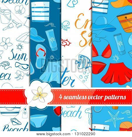 Collection of seamless patterns with summer holiday symbols. White, blue and red color. Endless texture for your design, announcements, greeting cards, posters, advertisement.