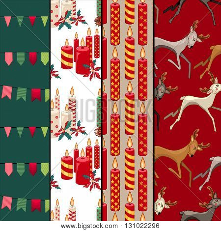 Collection of seamless Christmas patterns with traditional winter symbols. Red,green and beige. Endless texture for festive  design, announcements, greeting cards, posters, advertisement.