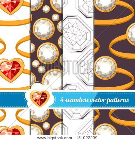 Collection of seamless patterns with diamonds and gold rings. White,red and dark color. Endless texture for your design, announcements, greeting cards, posters, advertisement.