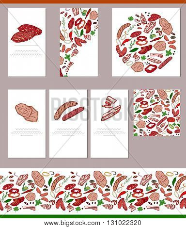 Food templates with different  meat, potherbs and spices.  For your design, announcements, greeting cards, posters, advertisement.