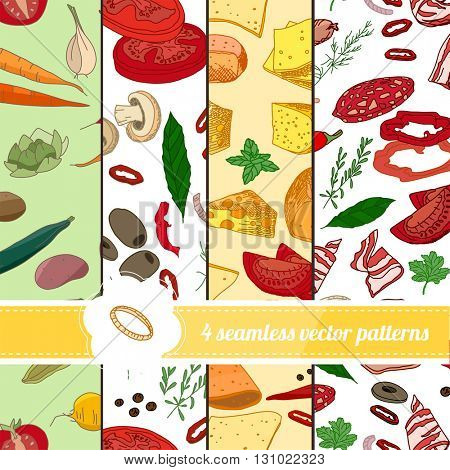 Collection of seamless bright patterns with stylized food. Endless texture for your design, announcements, greeting cards, posters, advertisement.
