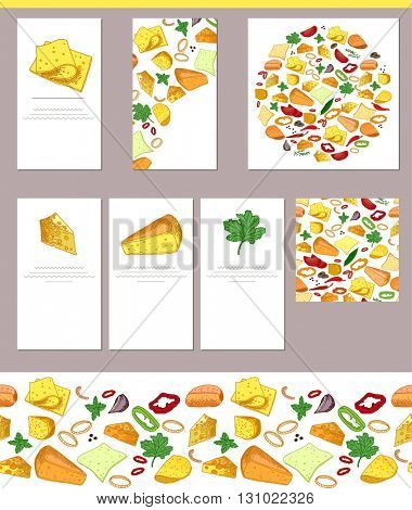 Food templates with sorts of cheese, potherbs and spices.  For your design, announcements, greeting cards, posters, advertisement.