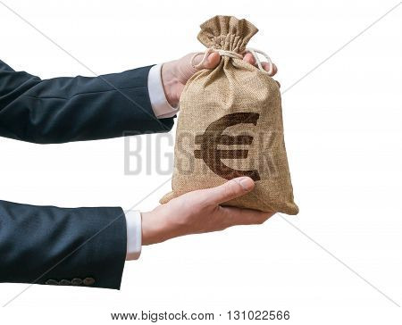 Hands Of Businessman Holds Bag Full Of Money With Euro Sign. Iso